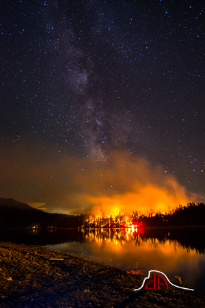 Milky Way over Courtney Fire, Bass Lake