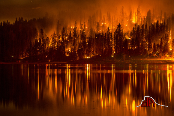 Courtney Fire reflected in Bass Lake